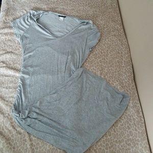 (XL) Venus Gray Ruched Tshirt Dress